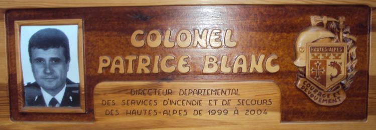 Plaque commémorative Colonel Patrice BLANC