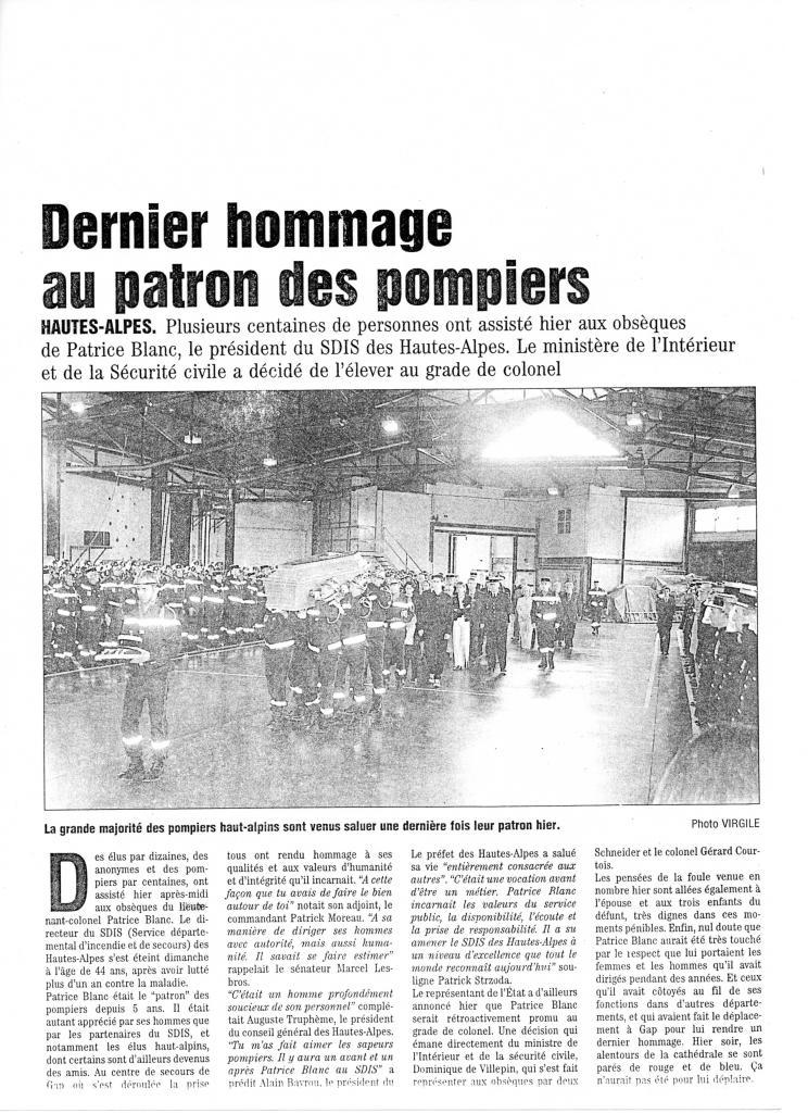 Dernier hommage au patron des pompiers le Colonel Patrice Blanc