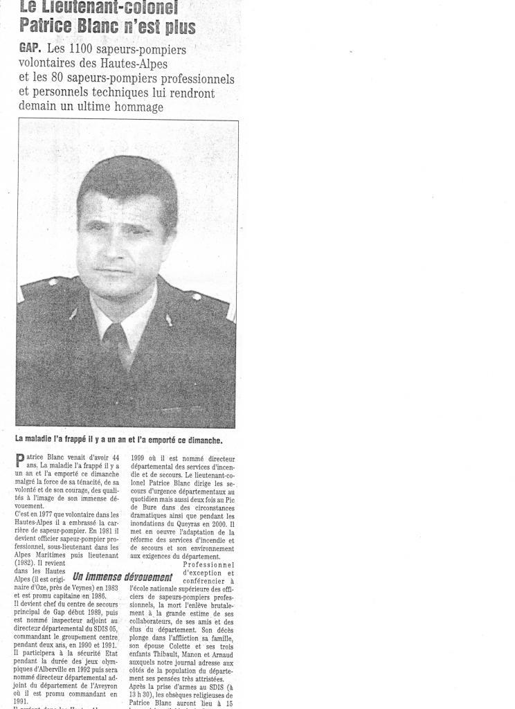 Le Colonel Patrice BLANC n'est plus